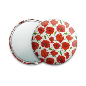 Косметическое зеркальце (карманное зеркало) «Маки» 75 мм