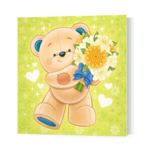 Мини-открытки, 10 шт, «Звёздный мишка с букетом» Ф-10