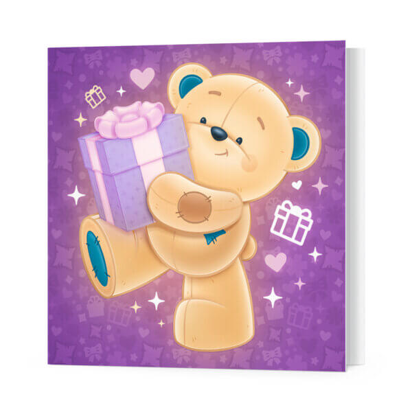 Мини-открытки, 10 шт, «Звёздный мишка с подарком» Ф-10
