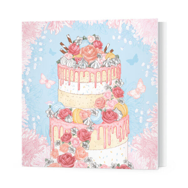 Мини-открытки, 10 шт, «Торт и бабочки» Ф-10