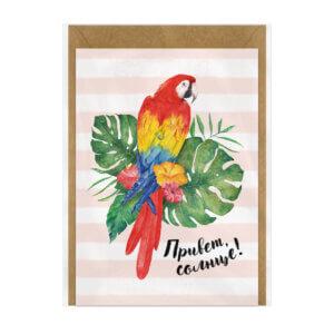 Карточка А6 с крафт-конвертом «Привет, солнце!» Ф-11
