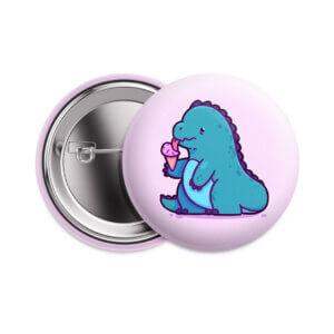 Значок «Динозаврик с мороженым» 37 мм