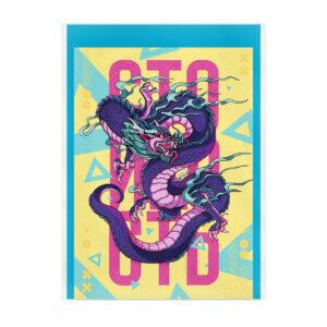 Открытка-карточка с конвертом киберпанк-дракон «Стойкость»